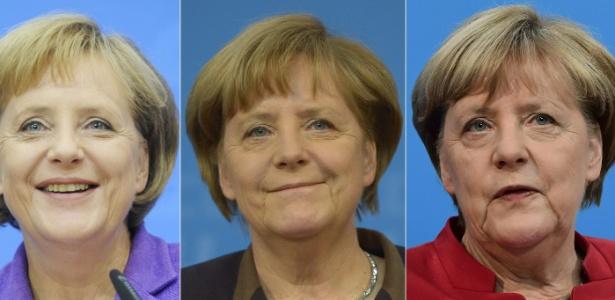 Montagem mostra a chanceler (premiê) alemã, Angela Merkel, nos anos 2009, 2013 e 2016, em Berlim