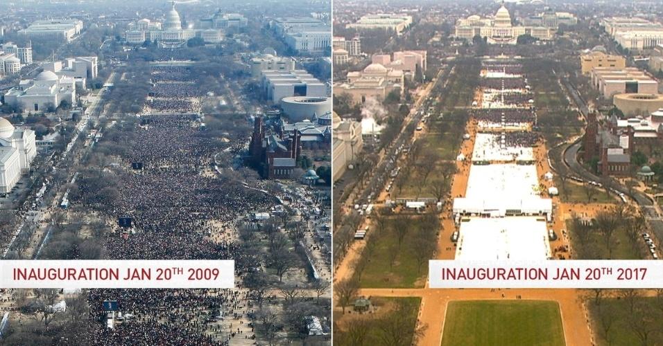 20.jan.2017 - Imagens comparam o público presente à posse de Barack Obama em 2009 e à de Donald Trump em 2017