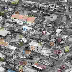 6.set.2017 - Em foto aérea, a destruição na cidade de Philipsburg, capital da ilha de São Martinho, após passagem do furacão Irma - AFP Photo/ANP/Gerben Van Es/Holanda