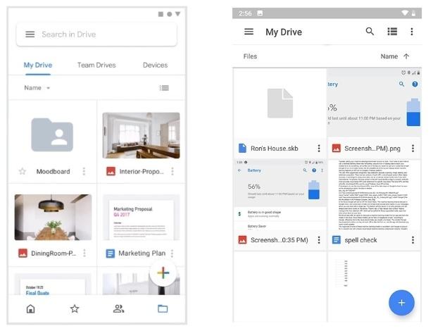 Novo visual e antiga aparência do app do Drive
