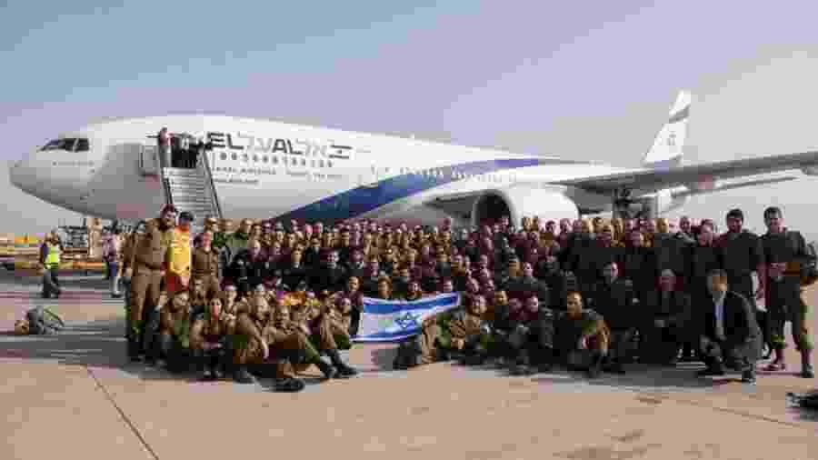 27.jan.2019 - Avião enviado por Israel com 140 pessoas e 16 toneladas de equipamentos para ajudar na busca de desaparecidos em Brumadinho (MG), após rompimento de barragem da Vale na cidade - Divulgação/Twitter/Forças de Defesa de Israel