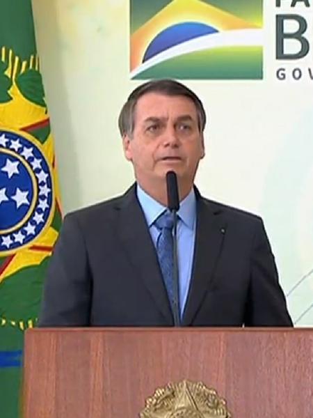 Bolsonaro durante evento de celebração no Palácio do Planalto no último dia 12 - Reprodução/TV Brasil