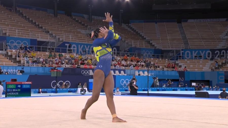 Rebeca Andrade conquista prata inédita para o Brasil na ginástica - Reprodução/TV Globo