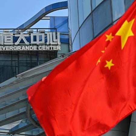 Vista geral do edifício Evergrande Center, em Xangai - Hector Retamal/AFP
