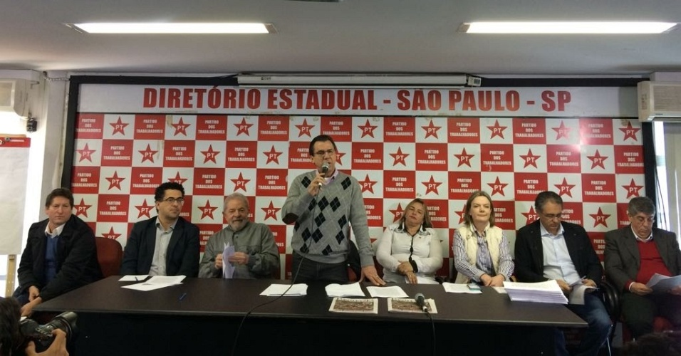 3.jul.2017 - Ex-presidente Luiz Inácio Lula da Silva participa de reunião com membros das executivas nacional e federal do PT em São Paulo