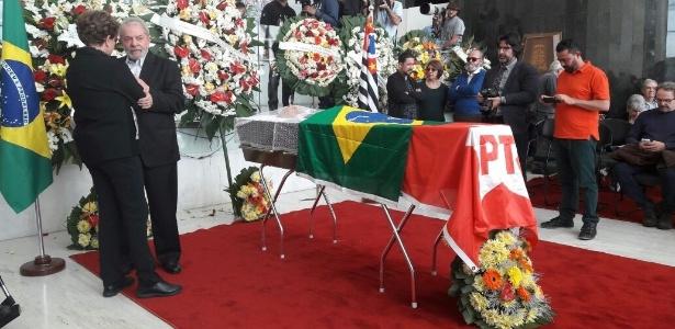 21.jul.2017 - Lula e Dilma prestam a última homenagem a Marco Aurélio Garcia