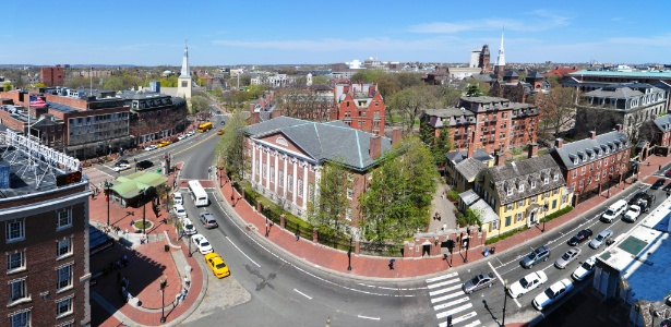 Campus da Universidade Harvard em Cambridge, em Massachusetts, nos EUA