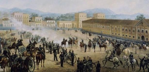 O quadro 'Proclamação da República', de Benedito Calixto; movimento que questiona rompimento com a monarquia ganhou força com as redes sociais