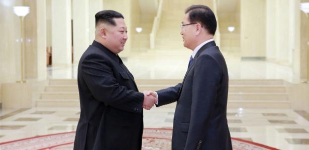 5.mar.2018 - O líder norte-coreano Kim Jong-un (esq.) cumprimenta o chefe da delegação sul-coreana Chung Eui-yong durante encontro em Pyongyang
