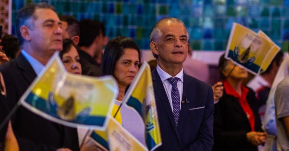 O governador de São Paulo, Márcio França (PSB), esteve em Aparecida nesta manhã, onde a acompanhou a missa solene da festa de Nossa Senhora