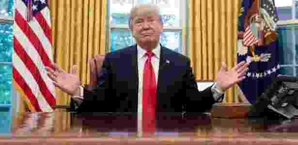 10.out.2018 - Trump no Salão Oval da Casa Branca, em Washington - Saul Loeb/AFP - Saul Loeb/AFP