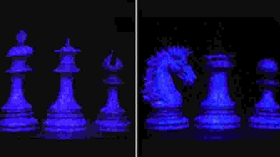 Holograma obtido durante o trabalho na USP; silício cristalino transmite laser com mais intensidade ao absorver menos a luz - Augusto Martins / Jornal da USP