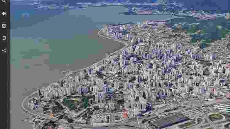 Esta é parte da cidade de Florianópolis (SC) vista em 3D no Google Earth. Bonito, não? - Reprodução