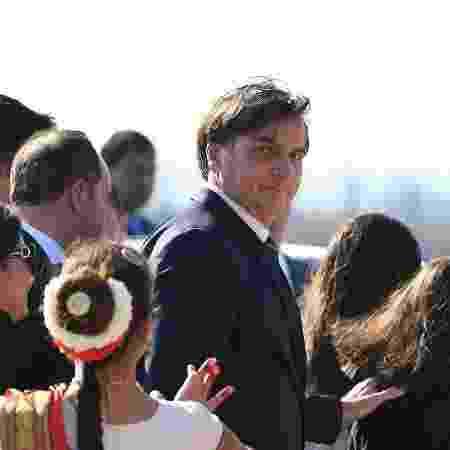 24.jan.2020 - O presidente Jair Bolsonaro desembarcou em Nova Déli, na Índia - Prakach Singh/AFP