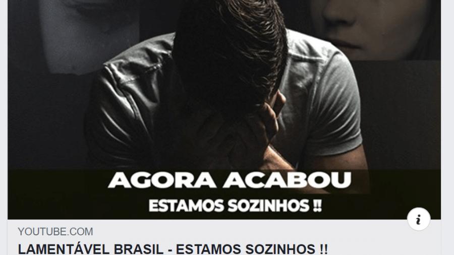 Reprodução de post bolsonarista pessimista no facebook de Olavo de Carvalho - repodução