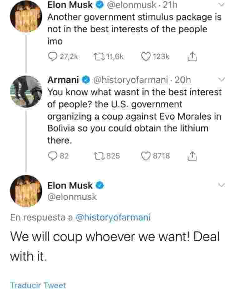 Tuíte de Musk sobre o golpe na Bolívia - Reprodução/Twitter - Reprodução/Twitter