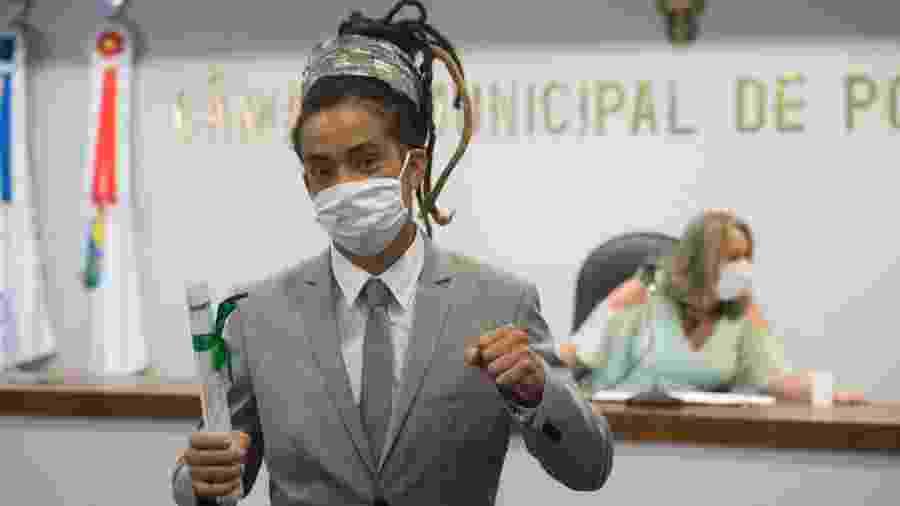 Matheus Gomes (PSOL) durante a posse na Câmara de Vereadores de Porto Alegre - Divulgação/Câmara de Vereadores de Porto Alegre
