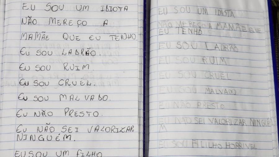 Caderno com frases auto depreciativas foi encontrado em residência da família - Divulgação/Polícia Civil