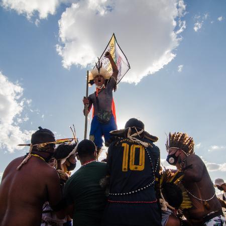 Acampamento dos indígenas sobre o marco temporal, em Brasília - Ramon Vellasco/UOL