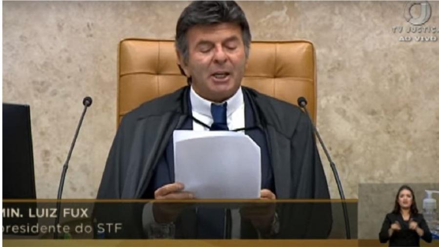 Ministro Luiz Fux durante correto e contundente discurso em defesa da democracia, das instituições e da independência do Supremo - Reprodução/Youtube