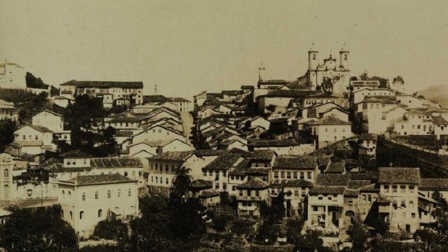 Exploração do ouro povoou o interior do Brasil, em torno de cidades como Vila Rica (atual Ouro Preto) - Biblioteca Nacional