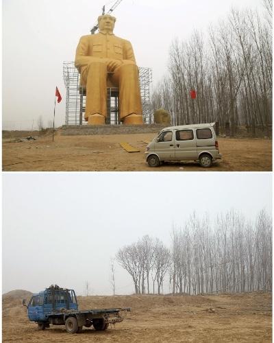 9.jan.2016 - Montagem mostra local em Tongxu, na China, onde estava sendo construída uma imagem gigante do líder chinês Mao Tsé-tung (acima), e o mesmo lugar sem a estátua (abaixo), que foi totalmente destruída e removida. A figura de 36,6 metros de altura, que custou cerca de 3 milhões de yuanes (R$ 1,834 milhão). A estátua foi retirada a pedido de autoridades após imagens que circularam na internet mostrarem que as mãos, os pés e as pernas da estátua foram arrancados e uma lona preta foi colocada sobre sua cabeça