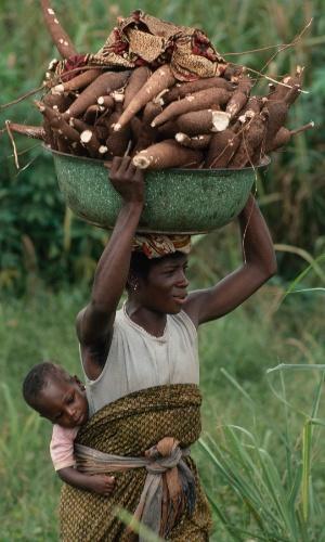 Uma mulher carrega mandioca e seu bebê na Nigéria. A mandioca é um dos alimentos de base da alimentação dos nigerianos. A raiz cresce por lá mais do que em qualquer outro lugar do mundo