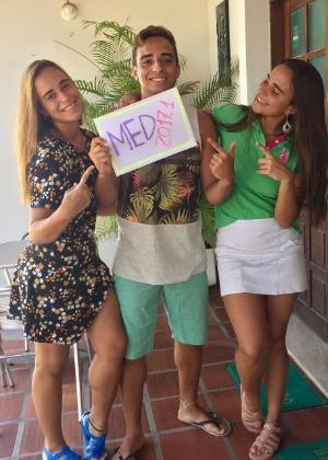 Amanda (à esq.), Giovanni e Ingrid Nogueira