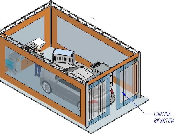Planta do modelo de franquia box da franquia ChipsAway no Brasil, que faz serviço de funilaria express
