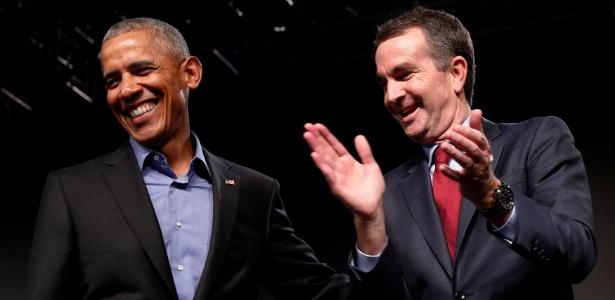 Ralph Northam, novo governador da Virgínia, com Obama durante a campanha eleitoral