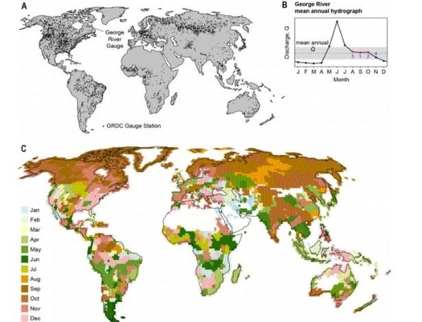 Mapa mostra método que chegou ao mês ideal do ano para medir cada um dos rios - Divulgação/Science