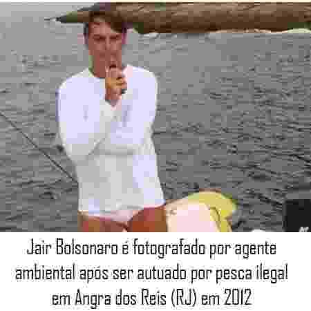Jair Bolsonaro foi autuado por pesca ilegal em Angra dos Reis (RJ) em 2012 - Arte/UOL