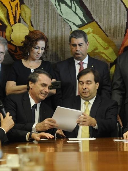 """Rodrigo Maia (dir.) recebe proposta de reforma de Bolsonaro: """"Não aguento mais essa relação [do governo] com o Congresso"""",  teria dito o deputado dias antes - Luis Macedo/Câmara dos Deputados"""
