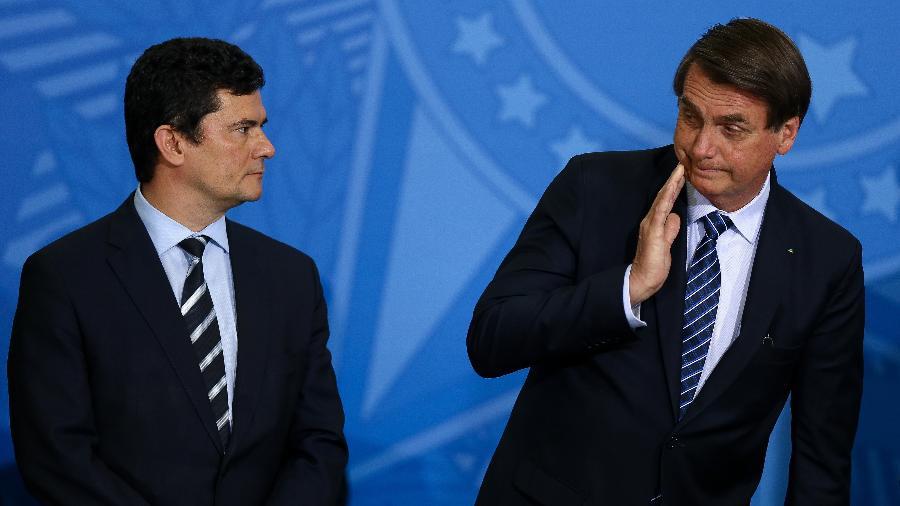 O presidente Jair Bolsonaro e ministro Sérgio Moro (Justiça) - Pedro Ladeira/Folhapress