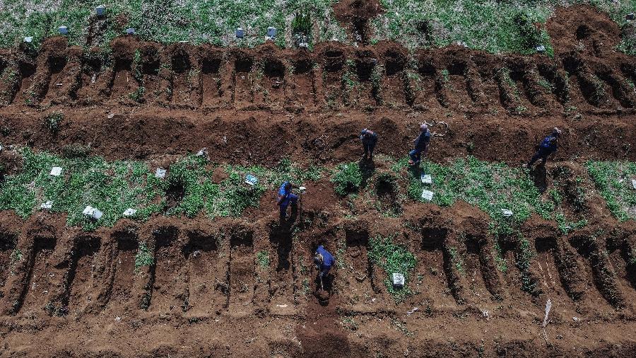 Cemitério da Vila Formosa, em São Paulo, tem covas abertas à espera dos mortos pela covid-19 na pandemia de coronavírus - Nelson Almeida/AFP