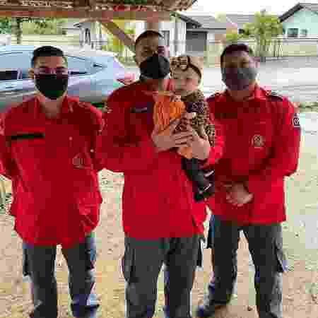 Voluntários realizaram manobra para que Alícia Mirela voltasse a respirar; ontem, em reencontro, levaram boneca à bebê - Corpo de Bombeiros Voluntários de Joinville/Divulgação
