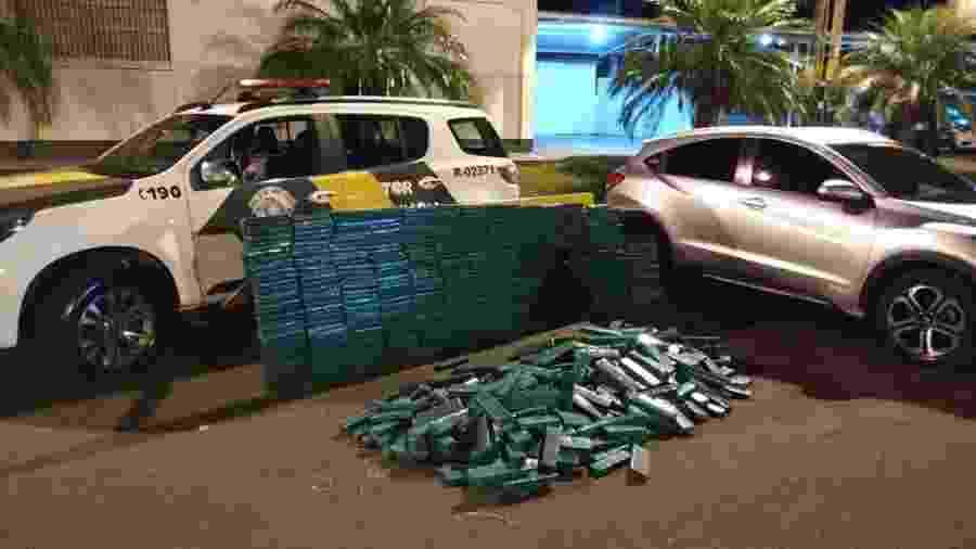 PM desconfiou de carro durante patrulhamento e apreendeu carga de 479,1 kg - Polícia Militar/Divulgação