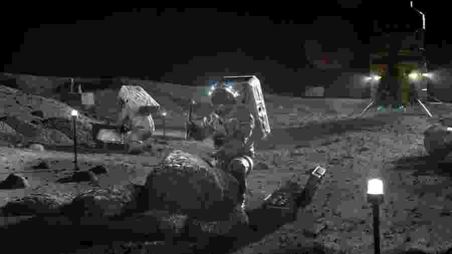 Arte com exemplo de astronautas explorando a Lua - Nasa