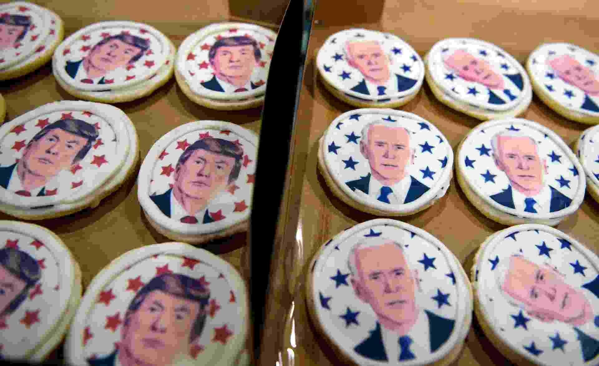03 out. 2020 - Padaria Oakmont Bakery, na Pensilvânia, vende biscoitos com os rostos de Trump e Biden - Jeff Swensen/Getty Images