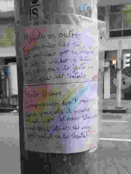 Por iniciativa própria, Malu Grossi elaborou cartazes até em outros idiomas; orgulhosa, mãe ajudou a colar mensagens - Acervo pessoal