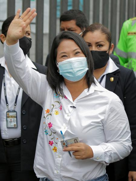 6.jun.2021 - Keiko Fujimori, filha do ex-ditador Alberto Fujimori e candidata à presidência do Peru em 2021 - Luka Gonzales/AFP
