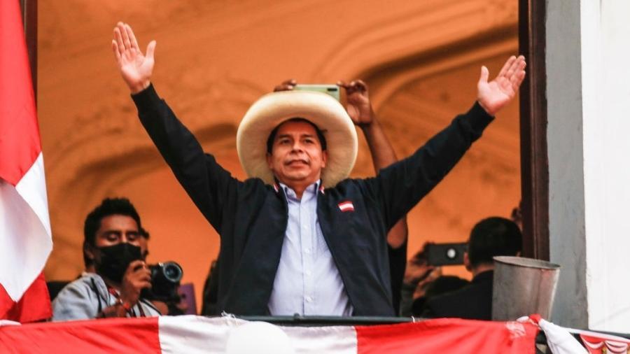 7.jun.2021 - Pedro Castillo (Peru Livre), presidente do Peru - Ricardo Moreira/Getty Images