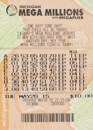 Bilhete de loteria premiado emitido em 26/5