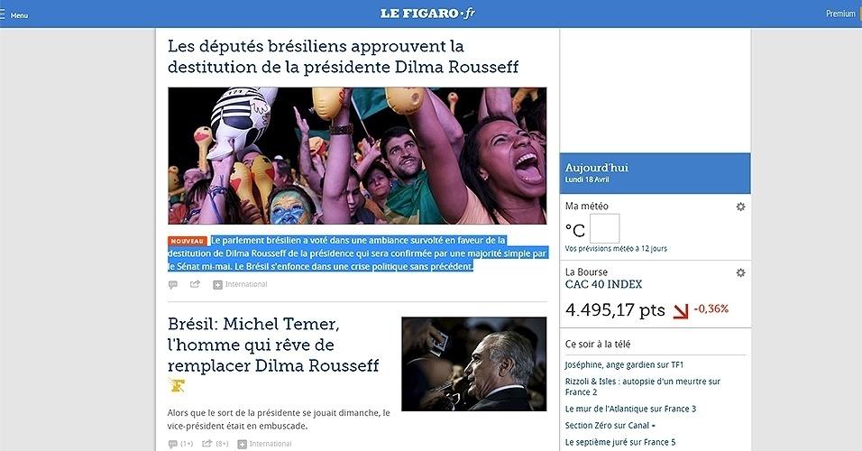 """17.abr.2016 - O jornal """"Le Figaro"""" informou em seu site o resultado da votação sobre o impeachment de Dilma. Mas, ao contrário do também francês """"Le Monde"""", não noticiou o fato com tanto destaque, exibindo a aprovação na Câmara abaixo de outras notícias do país"""