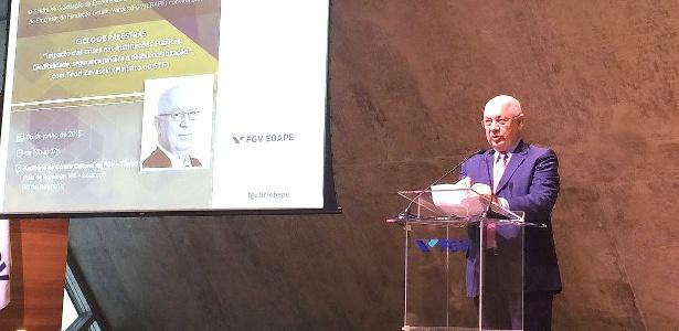 O ministro do STF Teori Zavascki, relator dos processos da Lava Jato, dá palestra na Ebape-FGV (Escola Brasileira de Administração Pública e Empresas da Fundação Getúlio Vargas), no Rio de Janeiro