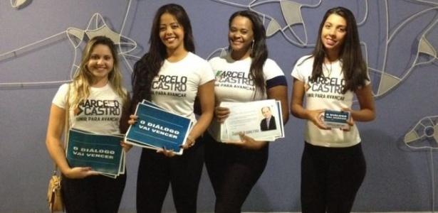Cabos eleitorais do candidato Marcelo Castro nos corredores da Câmara
