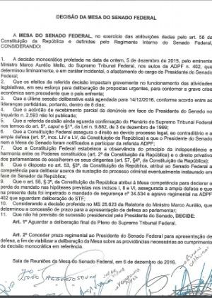 Carta da Mesa Diretora do Senado explicando que não aceitará liminar do ministro do STF Marco Aurélio Mello