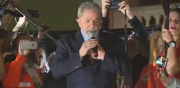 Lula em discurso realizado em Curitiba, depois de depoimento ao juiz Sergio Moro