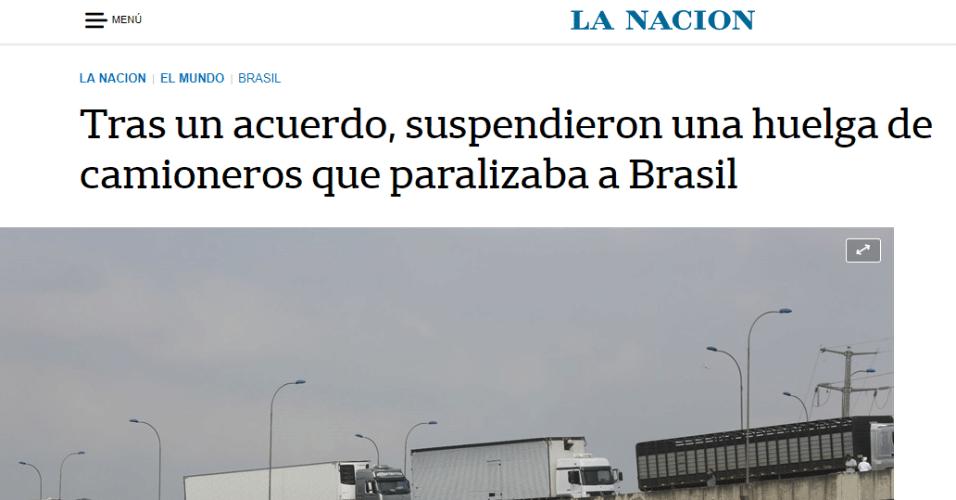 """O argentino La Nación sinalizou que """"apesar das concessões do governo Temer, os caminhoneiros mantiveram a greve"""""""