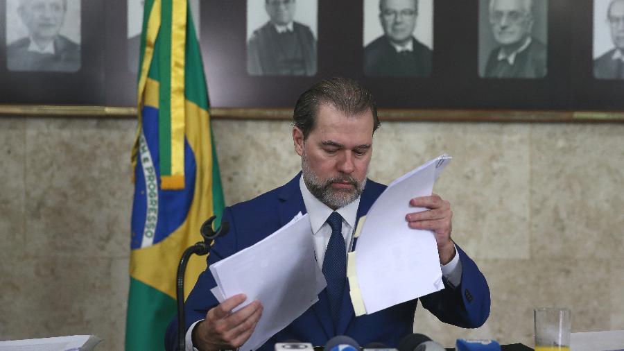17.set.2018 -  O ministro Dias Toffoli, presidente do STF, durante café da manhã com jornalistas para falar sobre a sua gestão à frente do tribunal - Pedro Ladeira/Folhapress